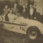 The Johnstown-owned Leitenberger Offenhauser Special  entered competition at the Indianpolis 500 qualifying sessions in 1953. Driver George Fonder is in the car. Standing are left to right, Harry Kinsey of Johnstown, Charles Alfater of Cleveland, both mechanics, and George and Francis Leitenberger, car owners.