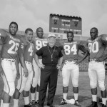 Duffy Daugherty, center, with Michigan State 1966 All-Americans