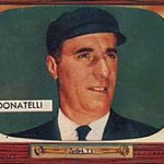 Augie Donatelli's 1955 Bowman baseball card.