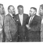 Left to right, Henry Schneck, Pro at Berkley Hills; Wilson Slick, President at Sunnehanna CC; George Anderson, Professional at North Fork CC; Bert Battell; and Bob Gutwein, Professional at Sunnehanna CC.