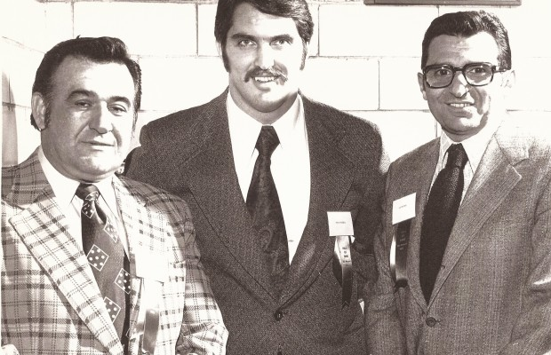 Blackie Mihalic, Andy Russell and Joe Paterno at CCSHOF 1973 banquet