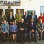 2008 Cambria County Sports Hall of Fame Committee. Front row, left to right, Keith Rummell, Linda Renzi, Chairman Rev. James Conrad, Bruce Haselrig, Don Sibert. Standing, left to right, Mike Mastovich, Tom Fleming, Jack Buchan, Paul Litwalk, Steve Purich, Jerry Davitch. Absent Pete Duranko.