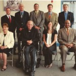 2010 Cambria County Sports Hall of Fame Committee. First row, left to right, Linda Renzi, Chairman Rev. James Conrad, Nikki Babik, Bruce Haselrig. Standing, left to right, Tom Chernisky, Paul Litwalk, Mike Mastovich, Ken Salem, Tom Fleming. Absent Jack Buchan, Pete Duranko.