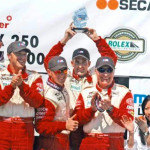 Tom Milner's BMWs swept the podium in a Rolex Sports Car Series GT race at Mazda Raceway Laguna Seca in Monterey, Calif. in 2005, and Chris Gleason, third from right, was part of this historic accomplishment.