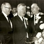 Inductees Fred Soisson, Duffy Daugherty and Augie Donatelli, left to right, enjoy 1967 banquet.