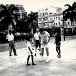 Hugh Conrad (rear) works a basketball clinic in conjunction with the U.S. State Department In Lahore. Pakistan, in 1966 with a member of the NAIA all-star team.