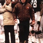 Joe Popp, left, and Browns coach Bud Carson.