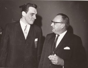 Len Chappell, left, and Wally Williams at 1965 hall of fame banquet.