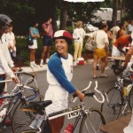 Lesley Cens-McDowell on her bicycle.
