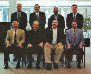 2006 Cambria County Sports Hall of Fame Committee. Front row, left to right, Jerry Davitch, Chairman Rev. James Conrad, Pete Duranko, Keith Rummell. Standing, left to right, Paul Litwalk, Mike Mastovich, Bruce Haselrig, Tom Fleming.  Absent Jack Buchan, Steve Purich.
