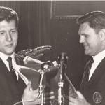 John Kasay receives contemporary award from Dave Hart at 1967 hall of fame banquet.