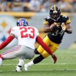 LaRod with Steelers vs Giants