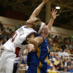 Cal's Becky Siembak works for position