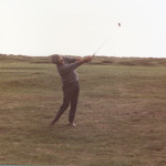 Bill Crooks takes a shot while playing a round in Scotland.