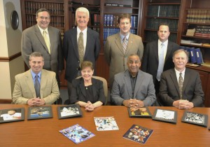 2012 Cambria County Sports Hall of Fame Committee. Front row, left to right, Keith Rummell, Linda Renzi, Chairman Bruce Haselrig, Jack Buchan. Standing, left to right, Mike Mastovich, Paul Litwalk, Ken Salem, Tom Chernisky. Absent Tom Fleming.
