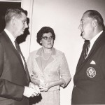 Charles Kunkle Jr., left, Evelyn Eperjessy, middle and Fred Brand Jr. during the 1965 hall of fame banquet.
