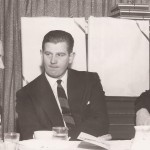 The NHL's Clarence Campbell, left, Charles Kunkle and Ken McNally, right, meet in April 1952.