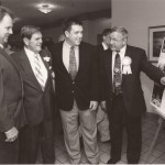 """Greater Johnstown High School football coaches, present and past gather at the 1998 hall of fame banquet. Left to right, Charles """"Corky"""" McCabe, then head coach of the Trojans; Dave Hart, who was being inducted into the hall; Tom Fleming; and Jerry Davitch."""