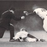 Frank Dezelan makes the out call in a MLB game.