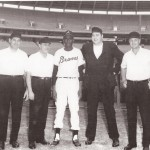 Frank Dezelan, far left, was part of an umpire crew with well-known umpire Ed Sudol when Satchel Paige, middle, made an appearance with the Atlanta Braves.