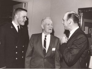 Boyd Keller, left, Frank Keller, center, and Pirates MVP Dick Groat, right, at the 1965 hall of fame banquet.