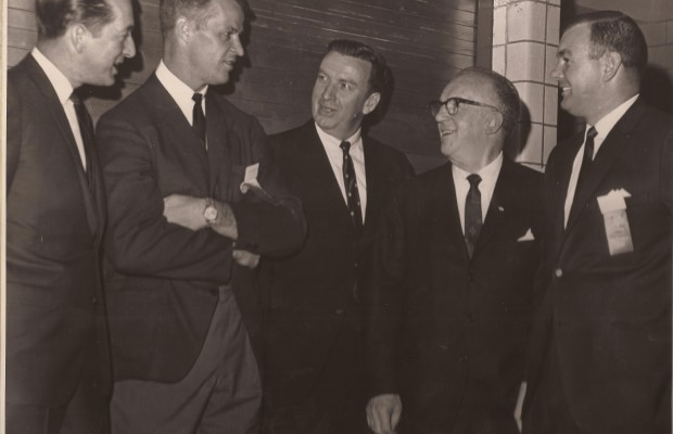 Hockey minds and talents John Daley, Gordie Howe, Jack Riley, John Mitchell and Don Hall at 1965 banquet.