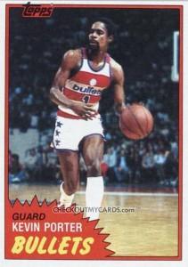Topps basketball card. Kevin Porter Washington Bullets