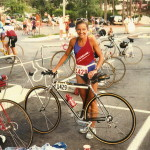 Lesley Cens-McDowell prepares for bike ride.