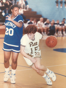 Mindy Young, Pitt-Johnstown Kodak All-American drives to the hoop at the Sports Center.