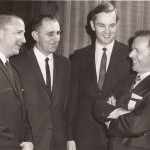 Scholastic basketball coaches Morgan Wooten of DeMatha Catholic, far left, and  Joe Majer of Johnstown Catholic's championship 1950-51 team, join former Crushers star player Ed Pavlick, in a discussion about hoops with Clayton Dovey, far right, at the 1969 hall of fame banquet.