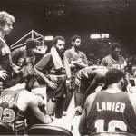 NBA team huddle.