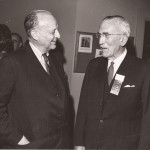 Richard K. Mellon, left, and Robert S.Waters talk at the 1965 hall of fame ceremony.
