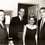 Left to right, Robert Seese, Navy QB and future Dallas Cowboy Roger Stabauch, an unidentified woman, and Tommy Yewcic at hall of fame banquet.