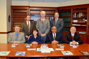 2014 Cambria County Sports Hall of Fame Committee.  Front row, left to right, Keith Rummell, Linda Renzi, Chairman Bruce Haselrig, Jerry Davitch; Standing, left to right, Tom Chernisky, Paul Litwalk, Mike Mastovich. Absent, Jack Buchan, Tom Fleming, Tim Rigby.
