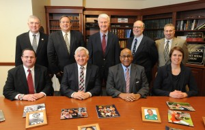 2016 Cambria County Sports Hall of Fame Committee. Front row, left to right, Tom Chernisky, Jerry Davitch, Chairman Bruce Haselrig, Amy Buxbaum. Back row, left to right, Tom Fleming, Mike Mastovich, Paul Litwalk, Sam Ross Jr., Keith Rummell. Also, Linda Renzi and Jack Buchan are on the committee.