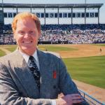 Tom McGough broadcaster at a minor league park.