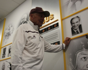 Fran Urban gets emotional when he thinks about  his ASU Football teammates during his tour of Sun Devil Stadium in Tempe, Arizona. (Cronkite News/Edwin Rodriguez)